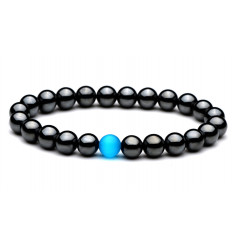 Bracelet Lithotherapie in Hematite + cat's eye : strengthen and purify