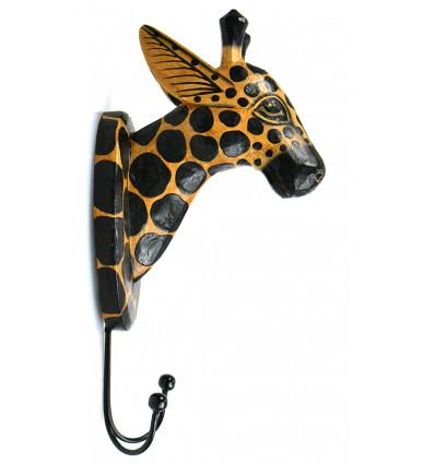 Patère trophée mural tête de Girafe en bois, déco chambre animaux.