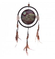 """Attrape-rêves indien 40x17cm avec motif """"loup au clair de lune""""."""