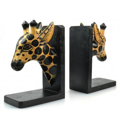Serre-livres original : tête de girafe en bois, série limitée.