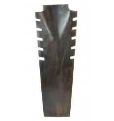 Buste présentoir à colliers cranté en bois massif couleur chocolat H40cm