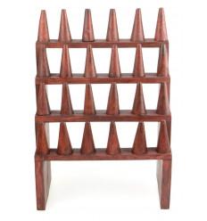 Porte-bagues / Présentoir à bagues (24 cônes) en bois massif couleur rouge