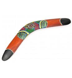 Boomerang décor mural bois, décoration aborigène australie tortue.