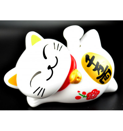 chat porte bonheur allong maneki neko solaire blanc pas cher. Black Bedroom Furniture Sets. Home Design Ideas