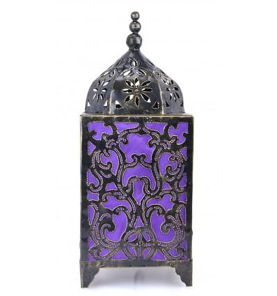 Lampe à poser artisanale en fer forgé, décoration baroque violet.
