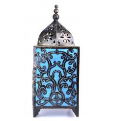 Lampe de salon artisanale fer forgé, déco baroque bleu turquoise.