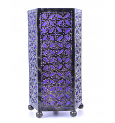 Lampe de chevet orientale H30cm fer forgé et tissu violet
