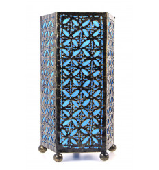 Bedside table lamp hand wrought iron turquoise. Oriental room.