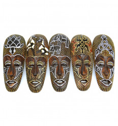 Deco african cheap. Lot 5 african masks, wood patterns animals.