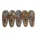 Déco africaine pas cher. Lot 5 masques africains bois motifs animaux.