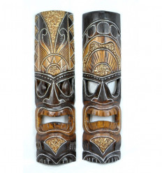Lot 2 masques Tiki polynésiens bois pas chers, décoration Tiki Bar.