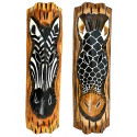 Décoration murale zèbre girafe bois style savane africaine safari.