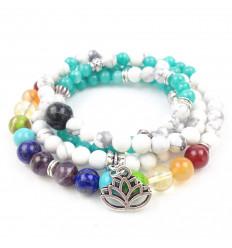 Bracelet multirang 7 chakras - Mala tibétain en Howlite et Aigue-marine + symbole fleur de lotus