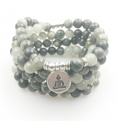 Bracelet Mala 108 beads with agate - Symbol-Buddha-meditation