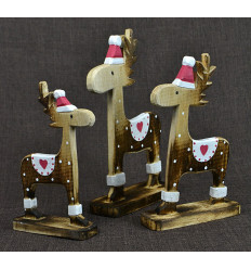 3 reindeer of Father Christmas. Deco hand crafted wood.