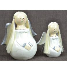 2 angels wood white Dress Deco Christmas craft.