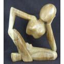 Grande statue moderne Penseur de Rodin en bois. Sculpture originale.