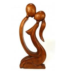 Grande sculpture couple sensuel H50cm en bois exotique
