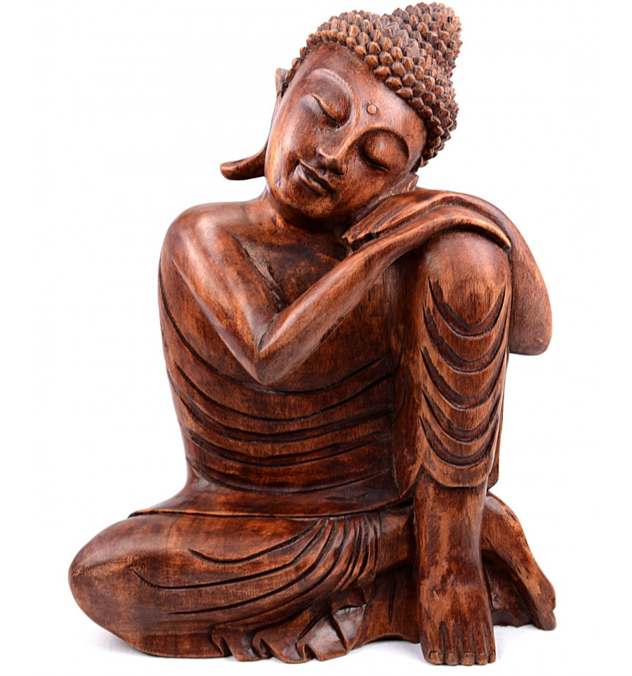 grande statue bouddha zen bois massif sculpt h40cm assis sur genou. Black Bedroom Furniture Sets. Home Design Ideas