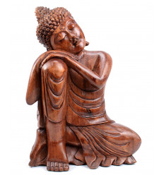 Sitting Buddha Statue h40cm - solid Wood carved by hand.