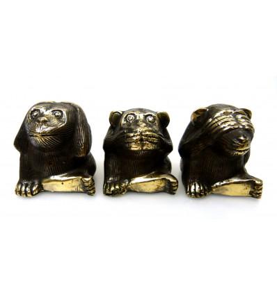 Le scimmie di saggezza. 3 Statue deco di bronzo.