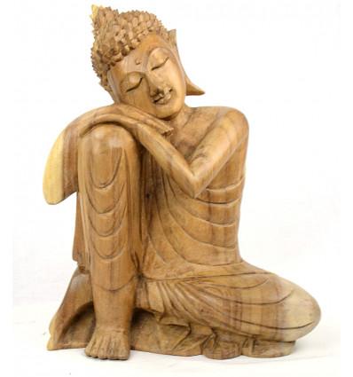 Buddha penseur. Grande statue de bouddha Zen en bois naturel.