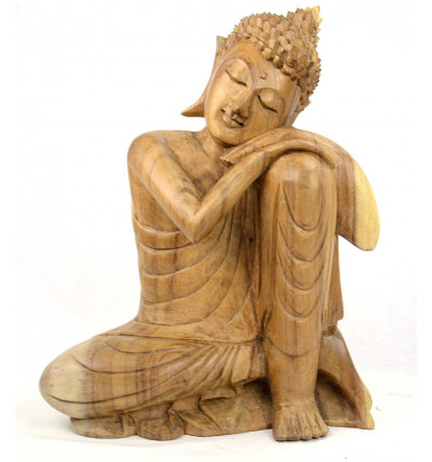 Purchase statue sculpture Buddha thinker in wood. Crafts of Bali.