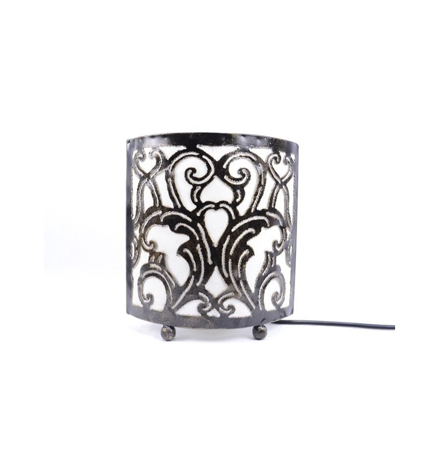 Lampe de chevet style marocain oriental fer forg tissu - Table de chevet fer forge ...