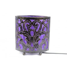 Lampe de chevet style marocain oriental fer forgé tissu violet