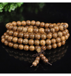 Bracelet Tibetan Mala 108 wooden beads + node without end. The delivery is free !