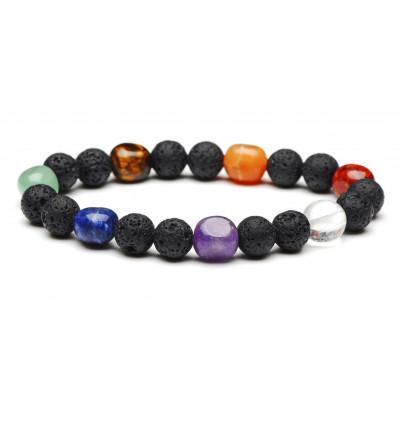 Bracelet de guérison des 7 chakras. Pierre de lave et pierres semi-précieuses
