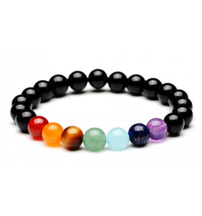 Bracelet de guérison des 7 chakras. Onyx et pierres semi-précieuses