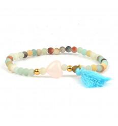Bracelet Bohème en Amazonite naturelle avec coeur et pompon - Apaisement, spontanéité, anti-stress,