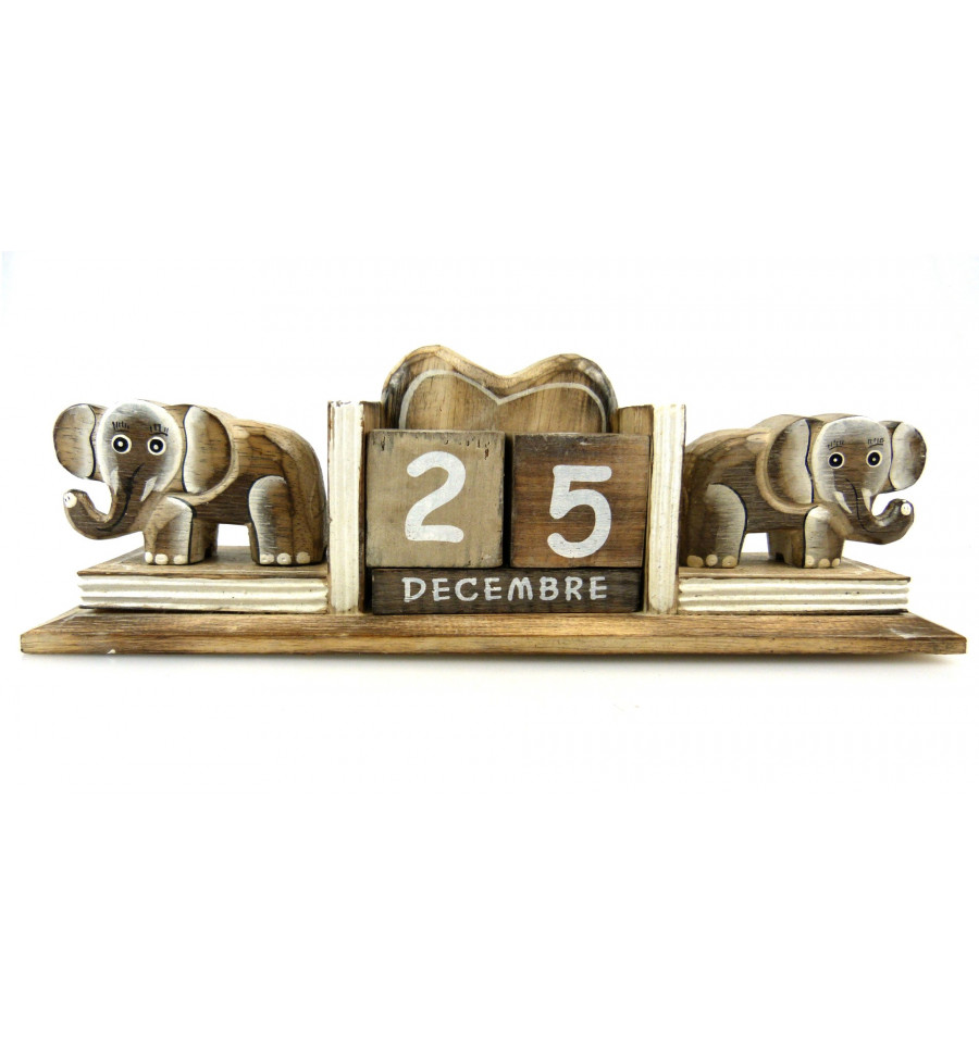 calendrier perpetuel statuettes elephant bois fabrication artisanale. Black Bedroom Furniture Sets. Home Design Ideas