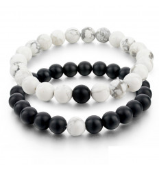 Bracelets de distance / couples - Agate noire et Howlite blanche