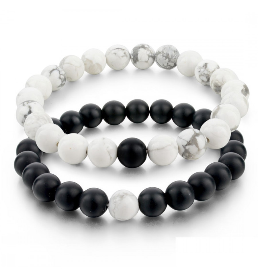 b6b1bcca13 Bracelets of distance / couples - black Agate and white Howlite - free  Delivery !