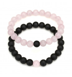 Bracelets of distance / lovers - black Agate and rose Quartz - free Delivery !!!