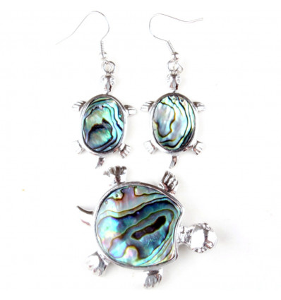 Parure necklace + pendant + earrings Turtle Abalone. Free shipping !