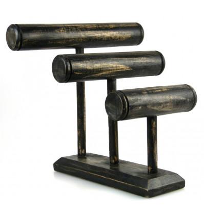 """Display bracciali e orologi 3 aste in legno massello finitura nero """"vintage"""""""
