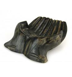 """Sculpture Mains en bois. Vide-poche / présentoir à cartes de visite. Finition """"noir vintage"""""""
