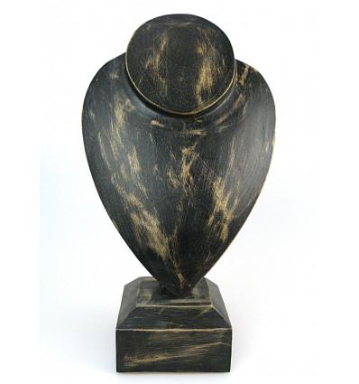 """Buste présentoir à colliers sur pied H 30cm - bois massif finition """"noir vintage"""""""