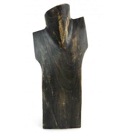 Présentoir à collier, buste en bois original artisanal. Grossiste.