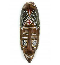 Masque décor batik en bois 30cm. Déco murale style africain