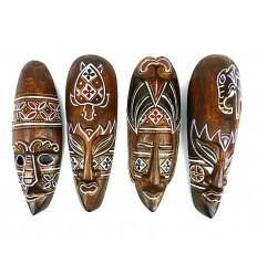 Maschera di arredamento batik in legno 30cm. Deco murale in stile etnico chic