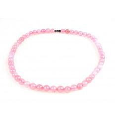 Collier ras de cou quartz rose, porte-bonheur paix amour perles 8mm.