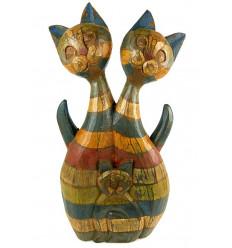 Statue famille chat bois. Décoration vintage. Idée cadeau famille.