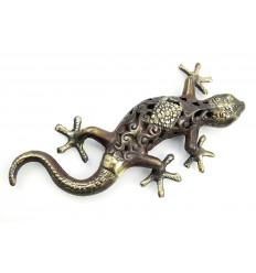 Gecko / Margouillat in bronzo. Statuetta a posto, o per appendere.