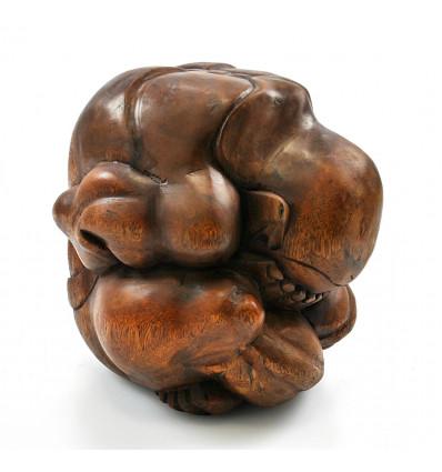 Bouddha pleureur, yogi qui pleure libérateur. Achat statue bois.