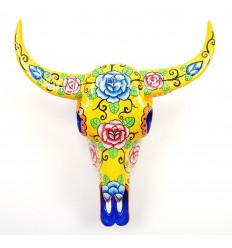 Cranio di Bufalo. Decorazione della parete messicano, dipinta a mano.