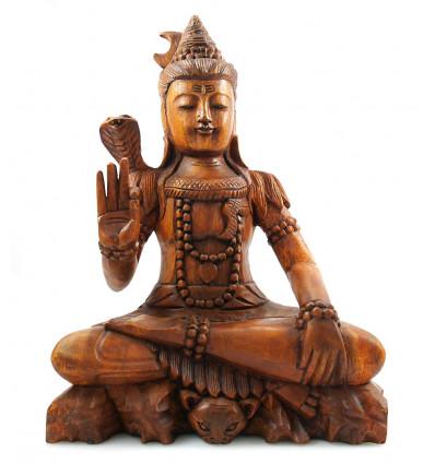 Statue Shiva en bois, décoration Hindouisme Inde artisanat, achat.